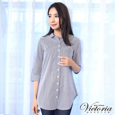 Victoria 直條七分袖襯衫-女-藍細條