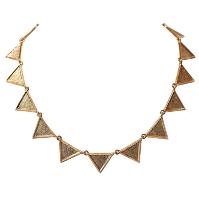 House of Harlow 1960 細緻雕版 立體三角形 金色頸鍊 可雙面配戴