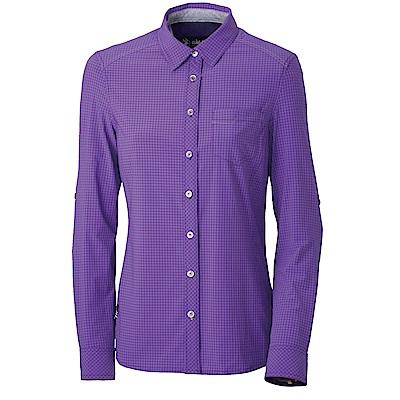 【Wildland 荒野】女四彈格子布抗UV長袖襯衫紫色