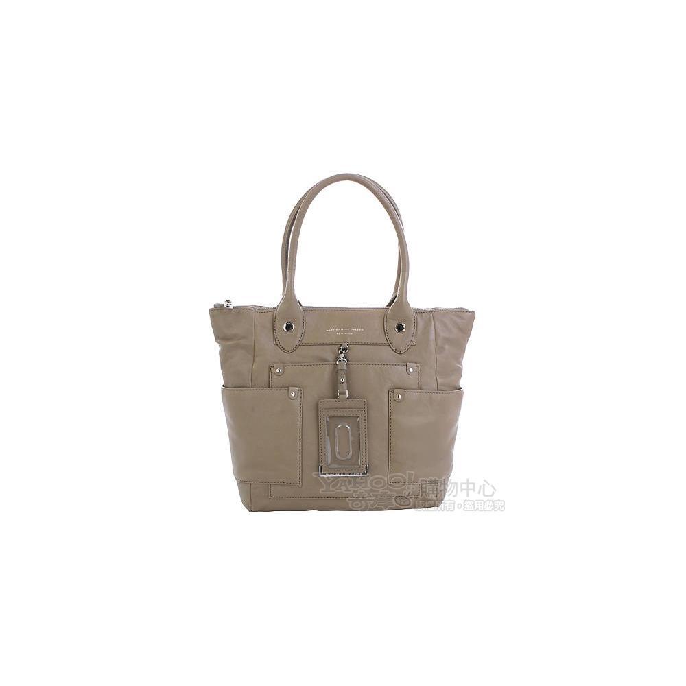 M.B.M.J Preppy Leather Dakota 多袋造型肩背托特包(卡其色)