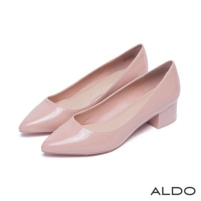 ALDO-原色亮面質感尖頭復古粗跟鞋-氣質裸色8H