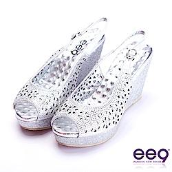 ee9 經典百搭鑲嵌亮鑽鐳射鏤空魚口楔型跟涼鞋  銀色