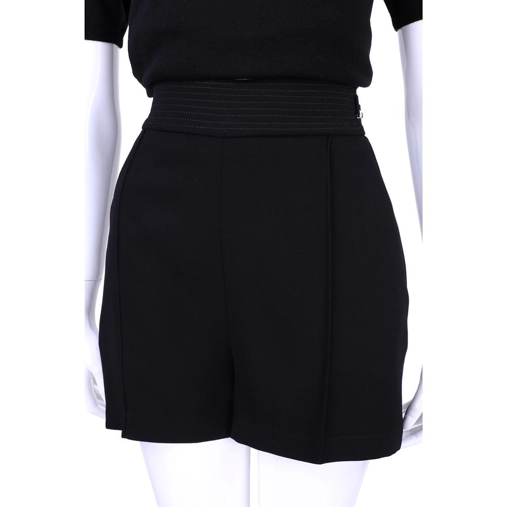 ELISABETTA FRANCHI 黑色側邊金屬釦飾短褲