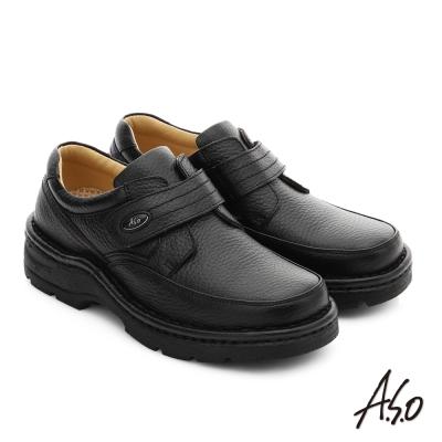 A.S.O 都會休閒 真皮抗震魔鬼氈奈米休閒鞋 黑色