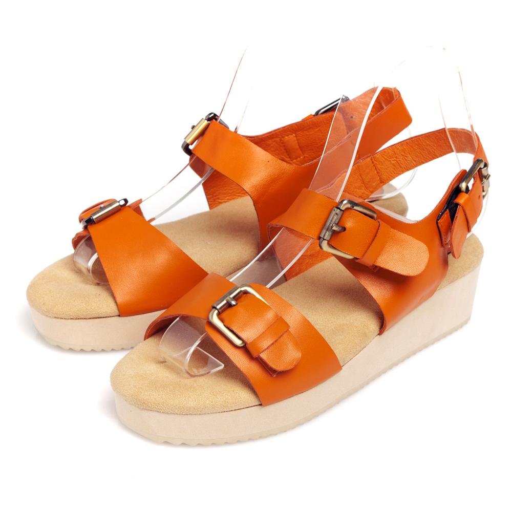 G.Ms.韓系經典皮帶釦牛皮鬆糕厚底涼鞋-香甜橘