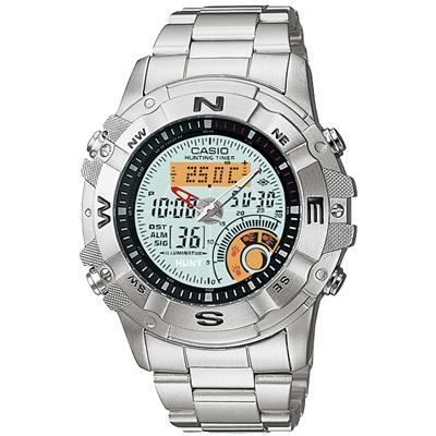 CASIO 全方位競速雙顯鋼帶錶(AMW- 704 D- 7 A)-白/ 44 mm