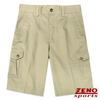 ZENO 水洗立體層次多口袋休閒短褲‧卡其綠30~42