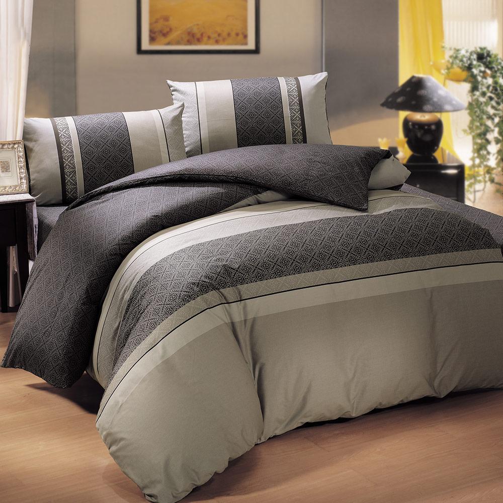 鴻宇HongYew 100%美國棉 防蹣抗菌-奧德塞卡其黑 單人床包枕套兩件組