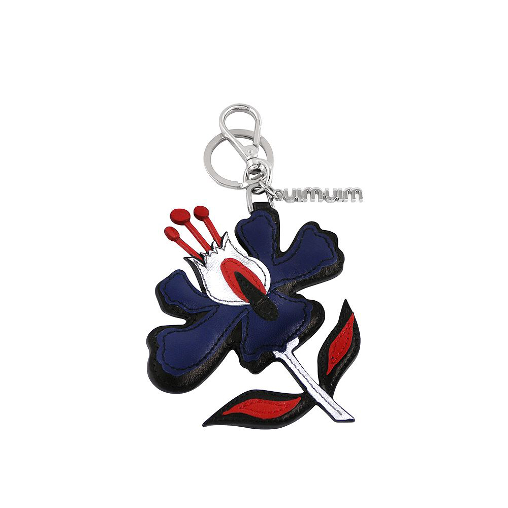 miu miu 藍色皮革花朵造型鑰匙圈