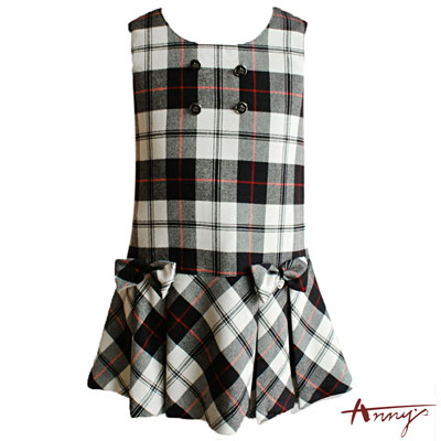 Anny學院雙排扣格紋背心裙洋裝*5231黑