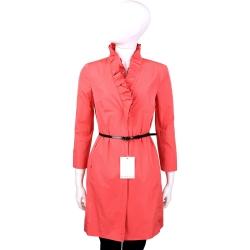 MARELLA 亮紅色荷葉立領七分袖外套(附腰帶)