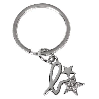 agnes b. 小b logo水鑽星星鑰匙圈-銀色