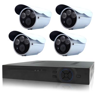 奇巧 4路AHD 720P數位高清遠端監控套組(含三陣列燈130萬攝影機x4)