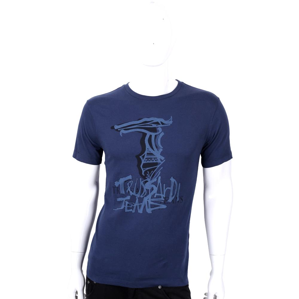 TRUSSARDI 深藍色LOGO塗鴉棉質短袖上衣
