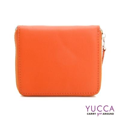 YUCCA-繽紛撞色系牛皮卡片短夾肩背小包-橘色 D0093013C68