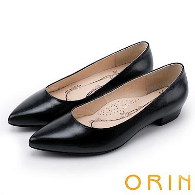 ORIN 率直簡約 素面柔軟羊皮尖頭粗低跟鞋-黑色