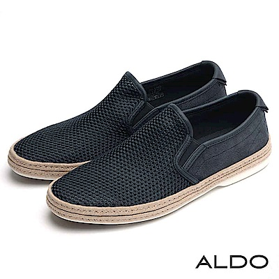 ALDO 原色交叉編織幾何網眼鏤空休閒鞋~都會深藍