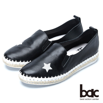 bac樂活時尚 黑白撞色牛皮樂福鞋-黑