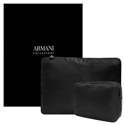 ARMANI 黑色輕量尼龍旅行收納袋-一組二入