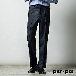 per-pcs 優雅風格寬條平面西裝褲_深藍(714108)