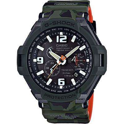 CASIO卡西歐 G-SHOCK MASTER 飛行員迷彩太陽能電波手錶-52.9mm