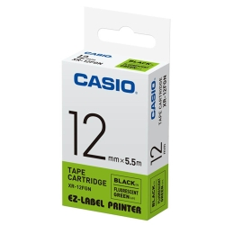 CASIO  標籤機專用特殊色帶-12mm(瑩光綠底黑字)XR-12FGN1
