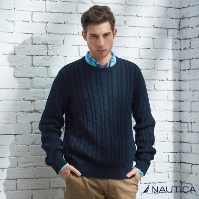 Nautica 圓領造型針織衫-深藍