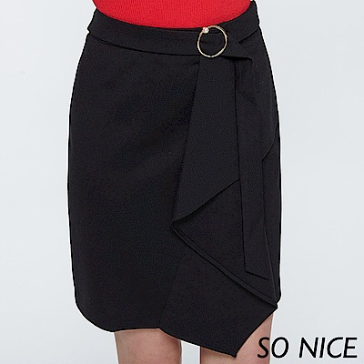SO NICE摩登都會羅馬布造型短裙
