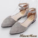 River&Moon優雅OL-MIT編織尖頭扣帶平底鞋-灰