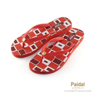 Paidal 幾何方塊海灘拖鞋人字拖鞋