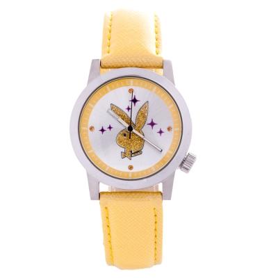 PLAYBOY 繽紛亮片時尚錶 黃色帶+銀框/35mm