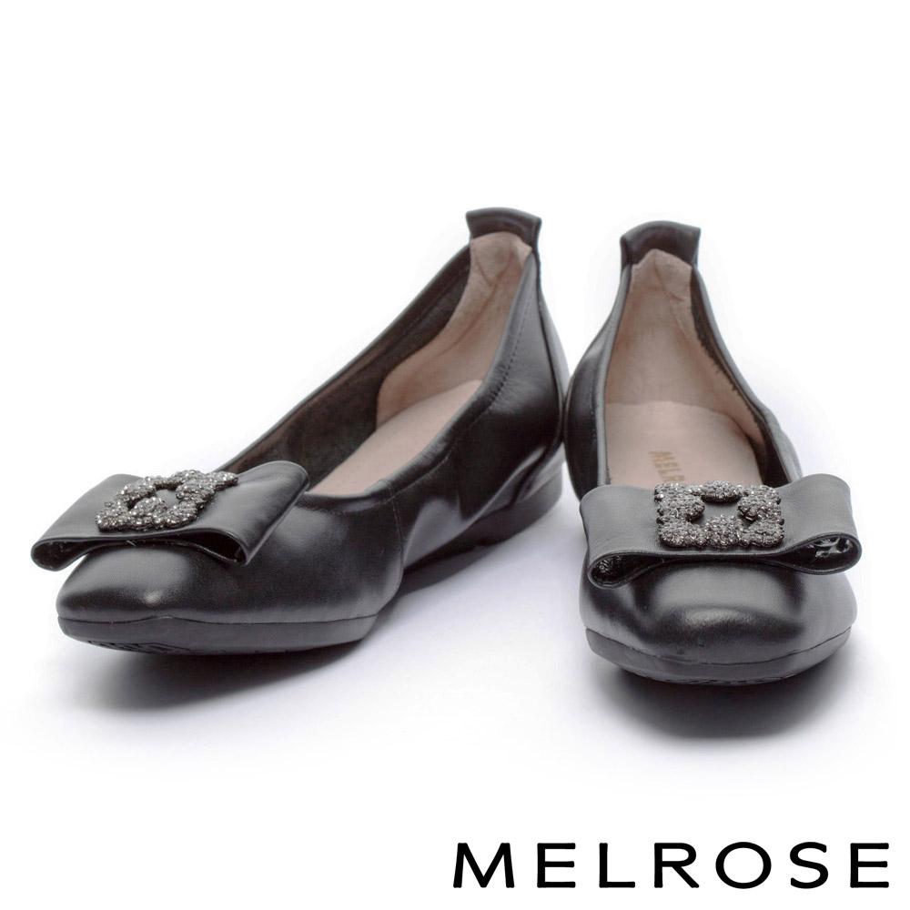 娃娃鞋 MELROSE 奢華鑽飾蝴蝶結超軟Q全真皮娃娃鞋-杏