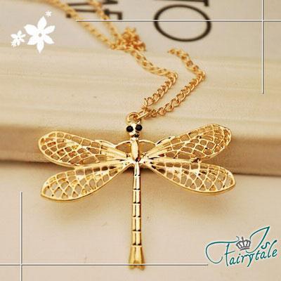 iSFairytale伊飾童話 金屬翅膀 蜻蜓鏤空長鍊 金
