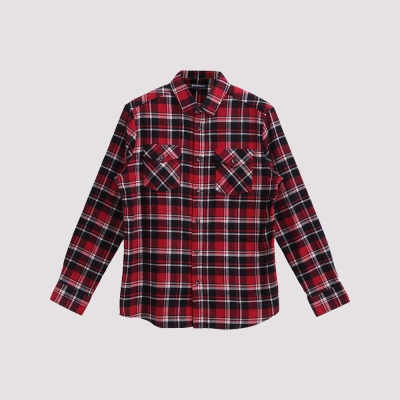 Hang Ten - 男裝 - 雙口袋法蘭絨格紋襯衫 -紅