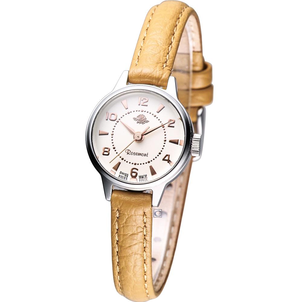 Rosemont 骨董風玫瑰系列經典時尚腕錶-駝色錶帶/22mm