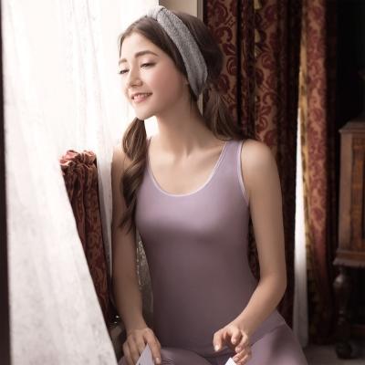 華歌爾 NEW EKS 升級發熱衣 M-LL圓領背心款(氣質紫)-保暖