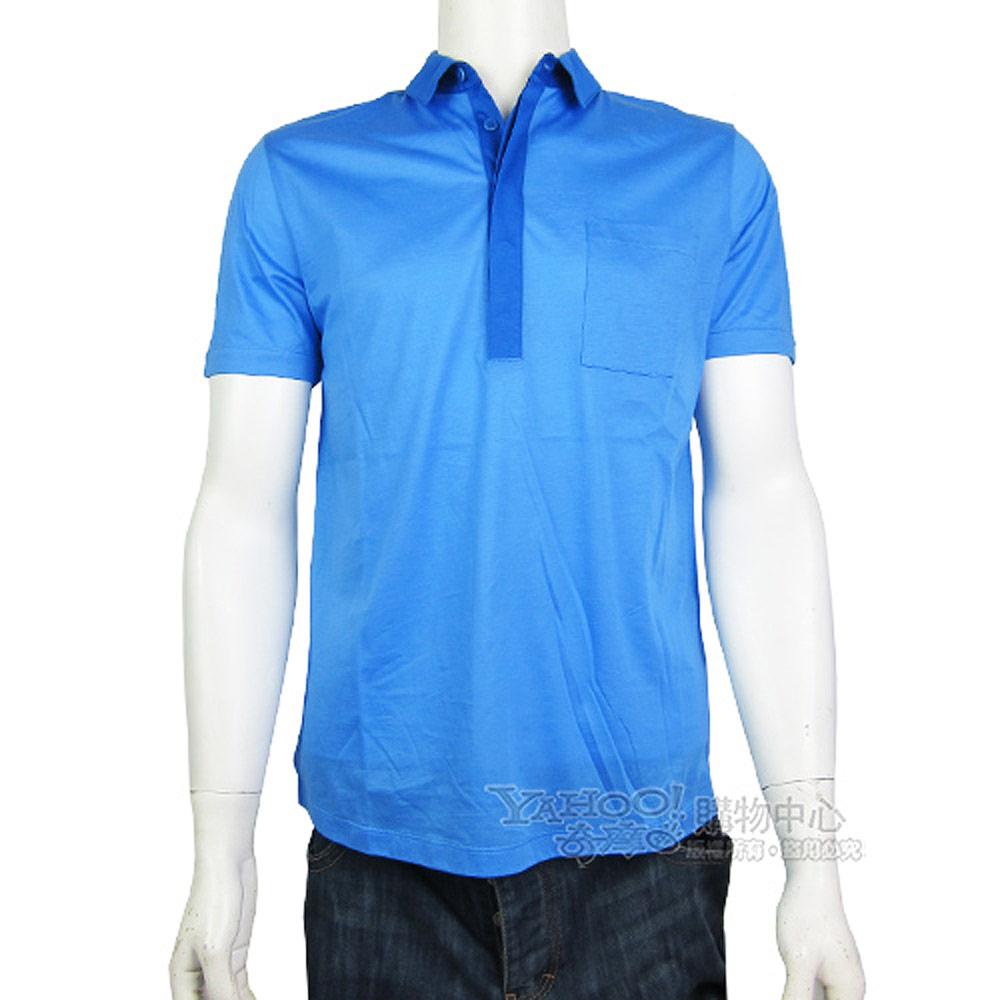 HUGO BOSS 紅標雙色領邊棉質POLO男衫(藍)