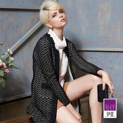 ILEY伊蕾-含羊毛蕾絲滾邊長版針織外套-黑