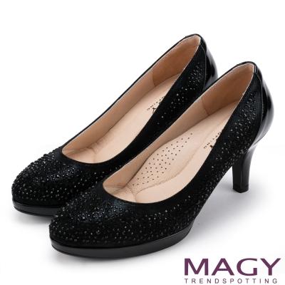 MAGY 奢華晚宴風 閃亮燙鑽性感夢幻高跟鞋-黑色