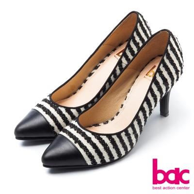 bac魅力淑女拼接繽紛氣質高跟鞋黑