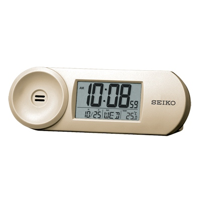 SEIKO 漸進式嗶嗶鬧鐘 溫度/日曆 電子鍾(QHL067A)-金色/44x13.5cm