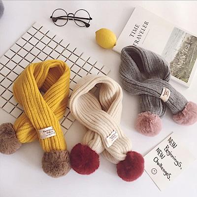 兒童 毛線球 交叉寶寶圍巾-共四款