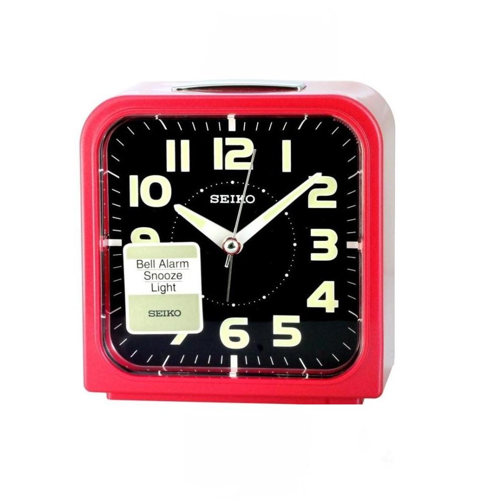 SEIKO精工色彩美學時尚鬧鐘-黑x紅框