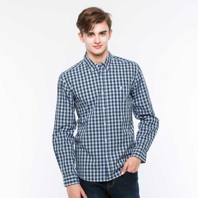 Hang-Ten-男裝-休閒格紋襯衫-深藍