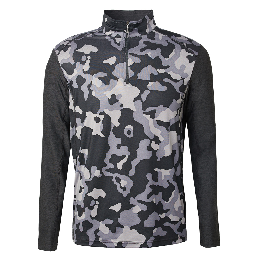 【Wildland 荒野】男彈性抗UV迷彩長袖功能衣迷彩黑