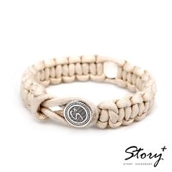 STORY故事銀飾-創客系列-經典銀釦編織手環 粗繩款(米白色)