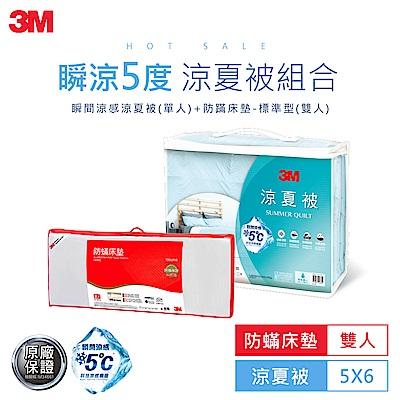 3M 瞬間涼感5度C涼夏被(5X6)+雙人防蹣床墊-標準型