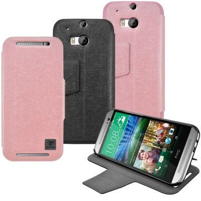 Metal-Slim HTC One (M8) 髮絲紋 超薄型環扣立架式側掀皮套