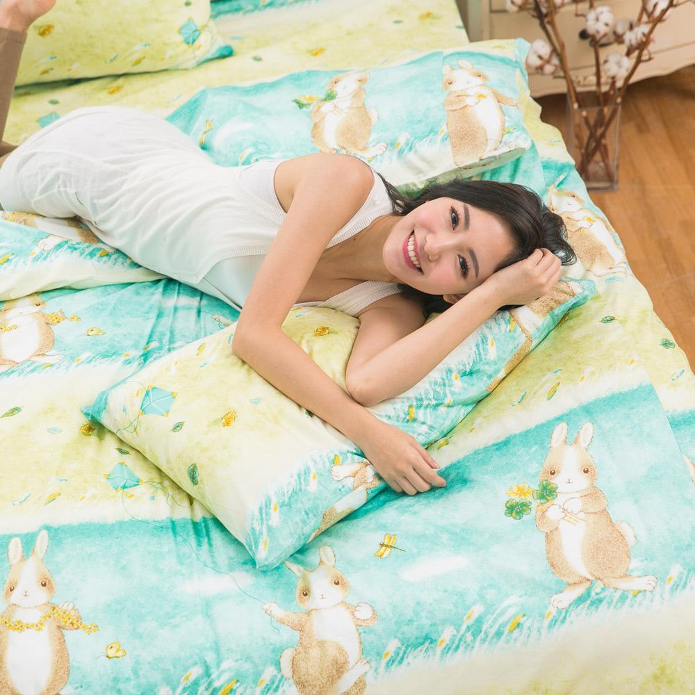 eyah宜雅 台灣製100%精梳棉新式兩用被雙人加大床包被套組 綠色原野上的小兔旅人