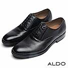 ALDO 原色真皮雙車線綁帶木紋粗跟男鞋~尊爵墨黑
